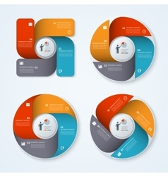 Set of modern business infographic circles vector