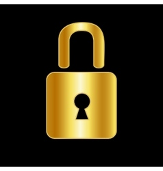 Golden lock icon background vector image