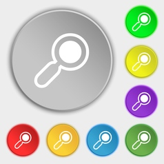 Magnifying glass zoom icon sign symbol on eight vector
