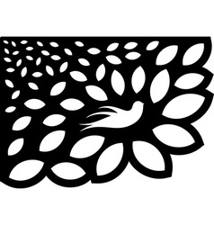 Ornaments leaf flower silhouette vector