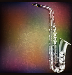 Abstract grunge music background with saxophone on vector