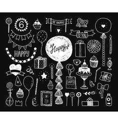 Hand drawn happy birthday collection vector