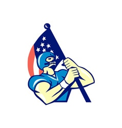 American football player holding flag retro vector