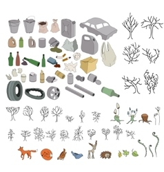 Different kinds of garbage in forests and wildlife vector