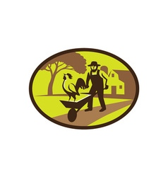 Amish farmer rooster wheelbarrow farm oval retro vector