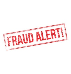 Fraud alert red rubber stamp on white vector
