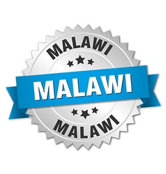 Malawi round silver badge with blue ribbon vector