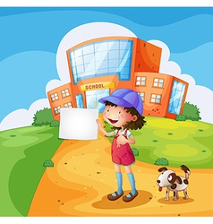 A child with a piece of paper standing in front of vector image vector image