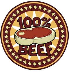 Badge 100 Beef vector image