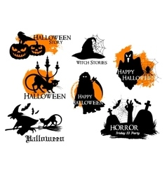 Black silhouette elements for Halloween decoration vector image