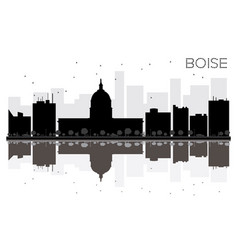 boise city skyline black and white silhouette vector image