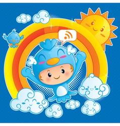 Boy in Blue Bird Costume vector image