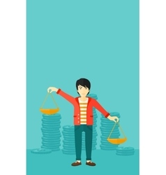 Businessman with scales vector image