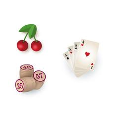 Casino symbols - cards bingo kegs jackpot cherry vector