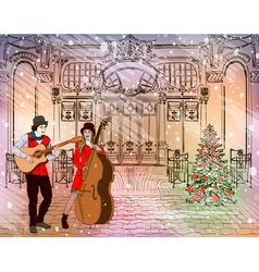 Christmas Street Performers in a Snowy City vector image