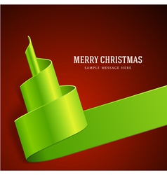 Christmas tree from green ribbon background vector
