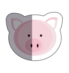 Color sticker with pig head and middle shadow vector