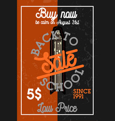 color vintage back to school sale banner vector image vector image