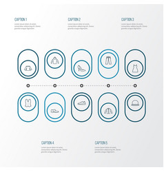 Dress outline icons set collection of shoe vector