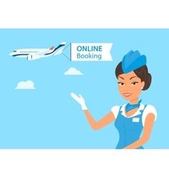 Female stewardess vector image vector image