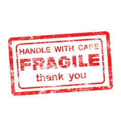 Fragile handle with care thank you grungy vector