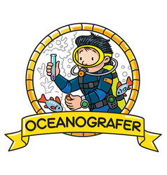 Funny oceanographer or diver emblem vector