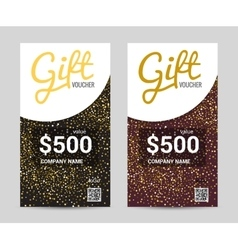 Gift Voucher template with Golden pattern design vector image