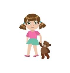 Girl Walking With Teddy Bear vector image vector image