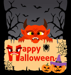 halloween background card with devil vector image vector image