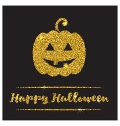 Halloween gold textured pumpkin icon vector