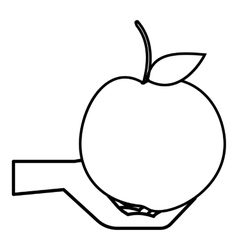 Hand holding apple icon outline style vector image