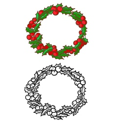 Holly wreath vector