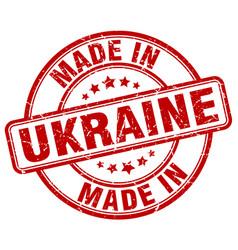 Made in ukraine red grunge round stamp vector