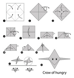 Make origami a crow of hungry vector