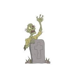 Raising From The Grave Creepy Zombie Outlined vector image vector image