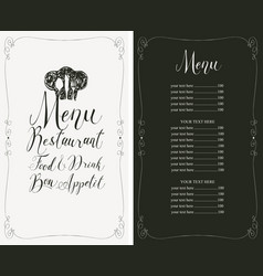 restaurant menu with price list toque and cutlery vector image