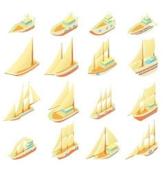 Sailing ship icons set cartoon style vector image vector image