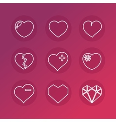 set of love signs 9 Hearts icons vector image vector image