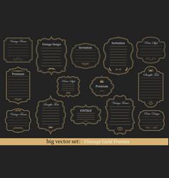 set of vintage gold frames vector image