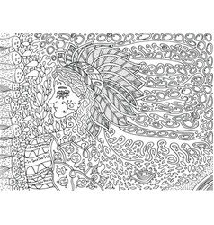shamanic forest spirit doodle cartoon coloring vector image