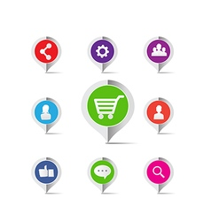 Shopping cart social network marketing concept vector image