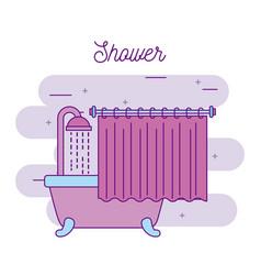 shower bathtub with curtain bathroom concept vector image
