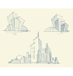 Sketches of city buildings vector