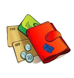 wallet sketches vector image vector image