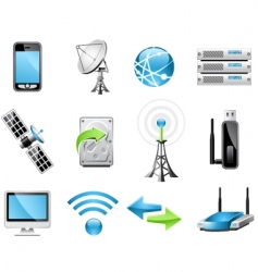 wireless technology icons vector image vector image