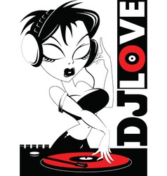 Woman dj vector
