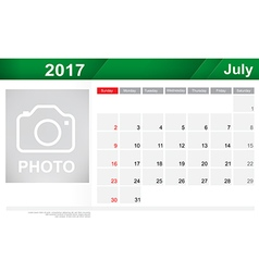 Year 2017 July month simple and clear design vector image vector image