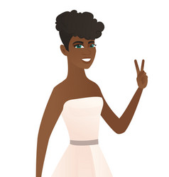 Young african fiancee showing the victory gesture vector