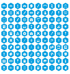 100 paint school icons set blue vector