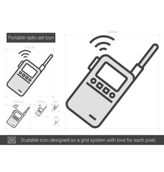 Portable radio set line icon vector